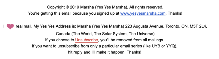 Marsha Shandur's email newsletter end credits. Full transcript below