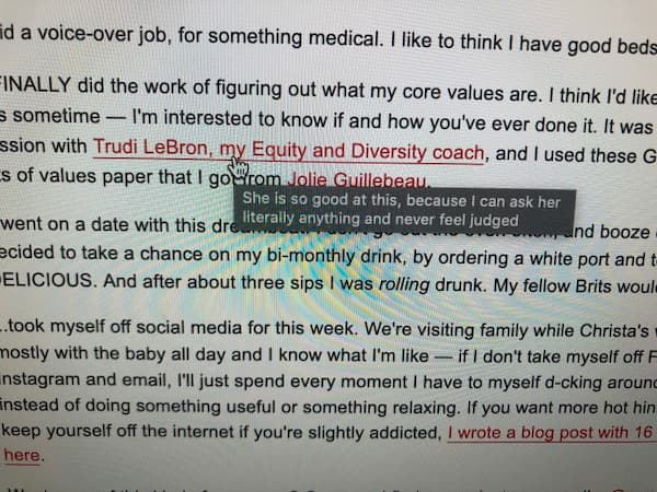 "Image showing an example of a secret link. The link says ""Trudi LeBron, my Equity and Diversity coach"". The secret message reads ""She is so good at this, because I can ask her literally anything and never feel judged"""