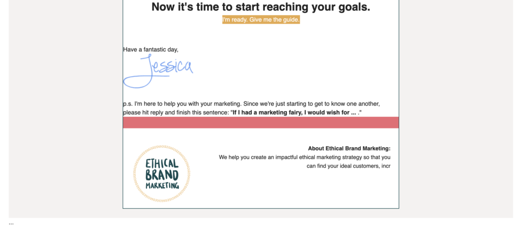 Part 3 of the welcome email sent by Ethical Brand Marketing to new subscribers. Full transcript below.