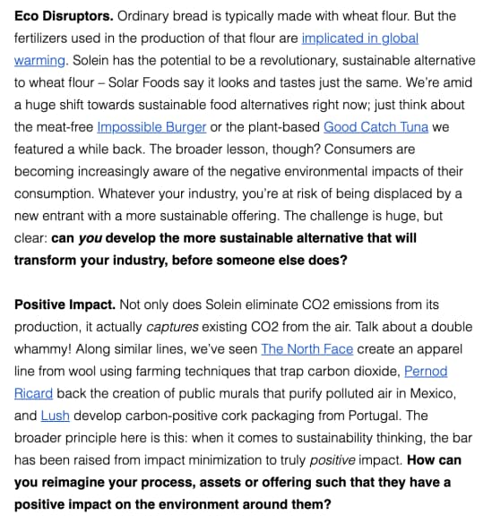 "A snippet from a Trendwatching email explaining the ""Eco Disruptors"" and ""Positive Impact"" trends"
