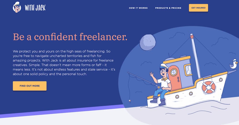 The revamped hero section of With Jack's homepage after the first stage of the 2018 rebrand had been rolled out: Be a confident freelancer.