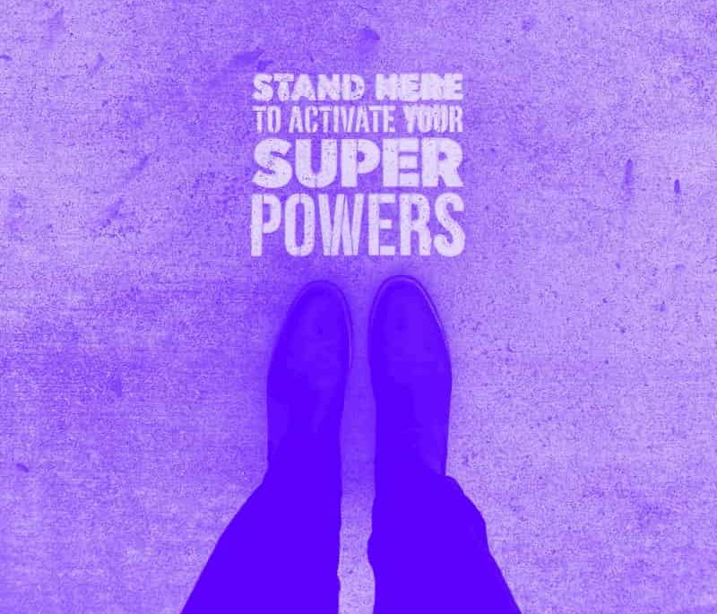 "illustrative image saying ""stand here to activate superpowers"""