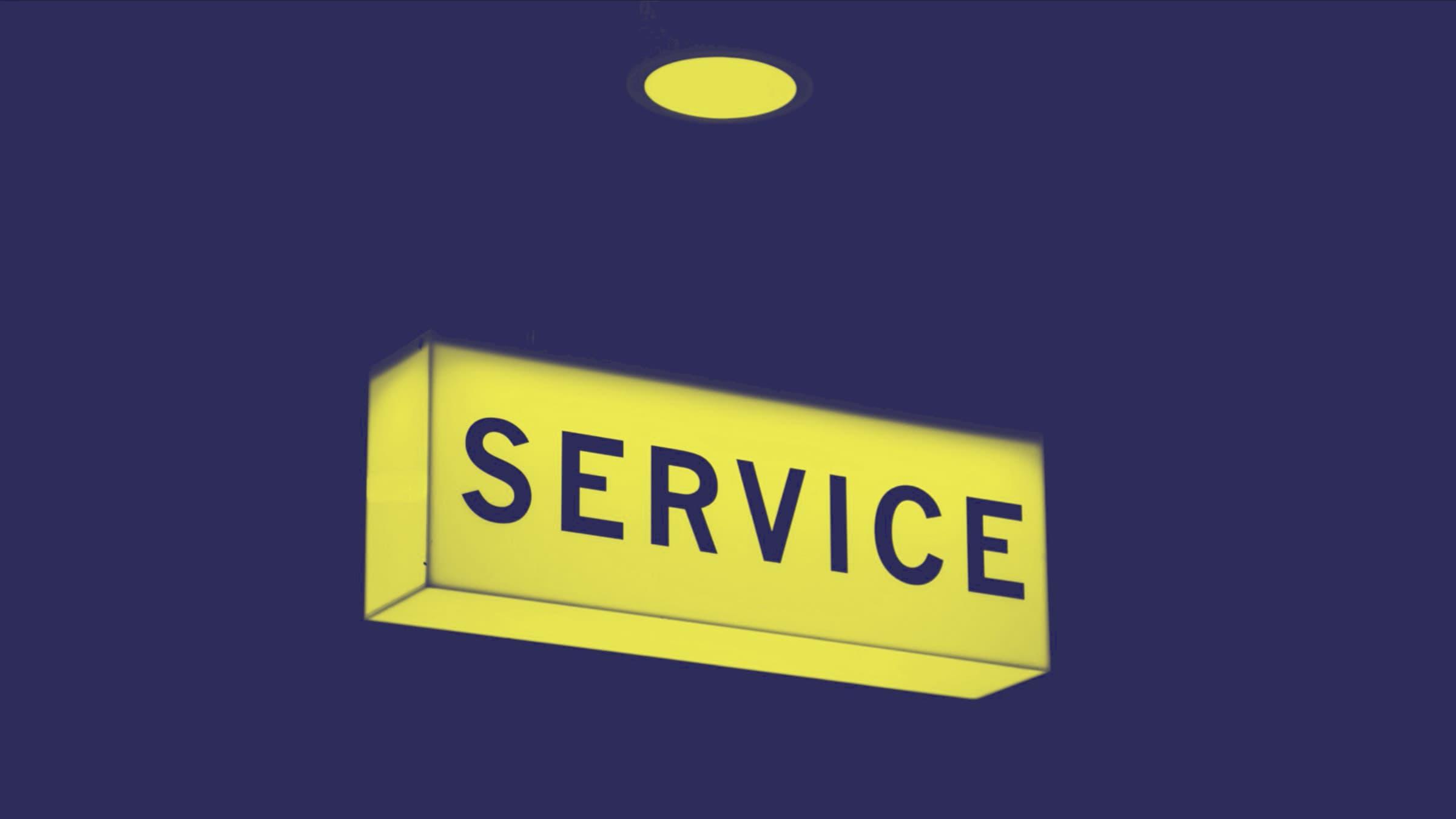 service light shining