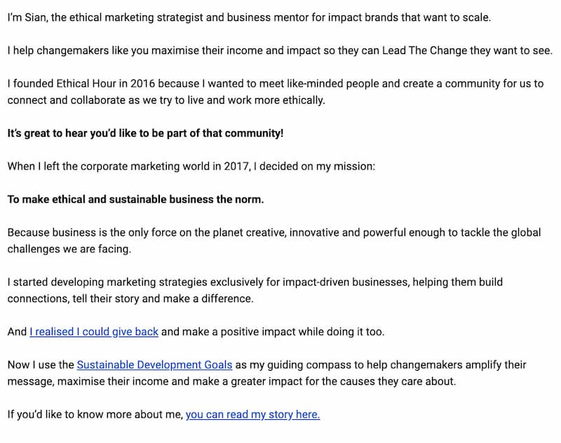 Screenshot of part 2 of the Ethical Hour welcome email. Transcript below.