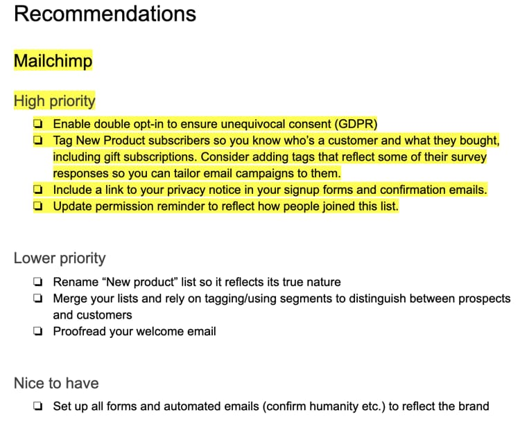 An excerpt from our recommendations, with the highest priority highlighted in yellow.