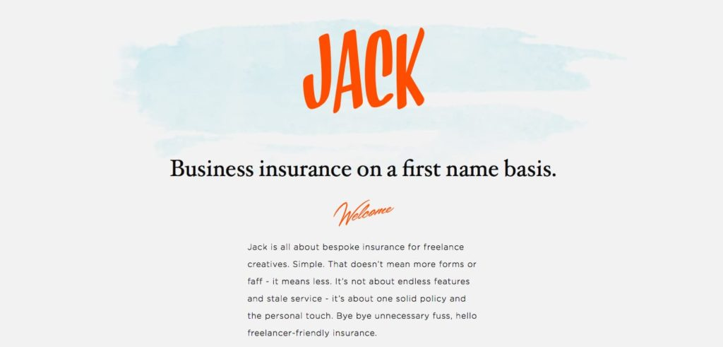 The value proposition of With Jack as it appeared on the homepage before the 2018 rebrand: Business insurance on a first name basis.