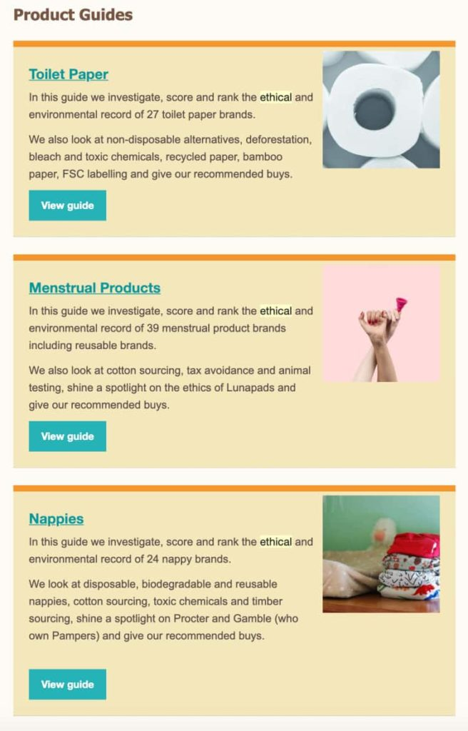 Examples of different product guides created by Ethical Consumer Magazine: Toilet Paper, Menstrual Products, Nappies