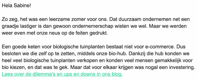 Dutch example snippet from an email newsletter sent by SPRINKLR. Translation below.