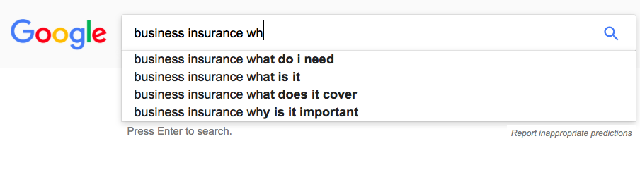 an example of Google autocomplete in the search bar