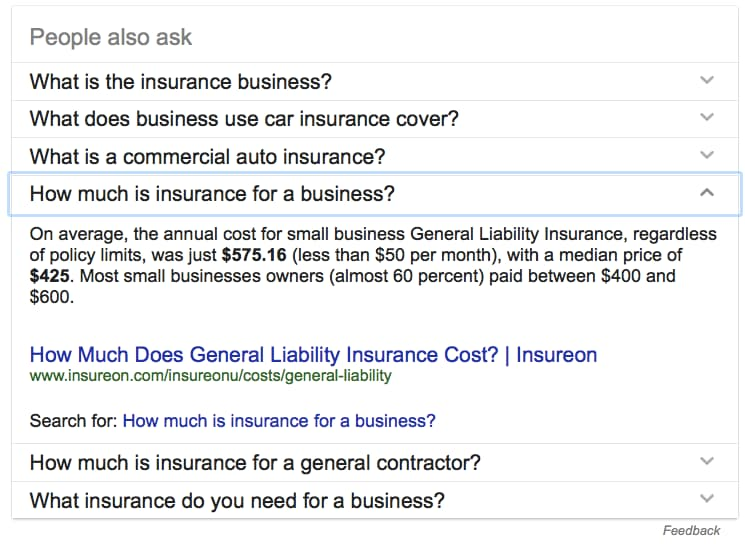 "An example of the Google ""People also ask"" feature."