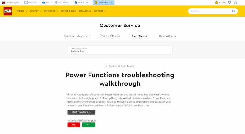 FAQ article on the leco customer service website offering a troubleshooting walkthrough for power functions.