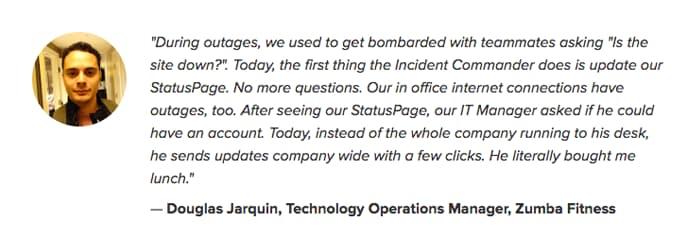 Testimonial from Statuspage. Full transcript below.