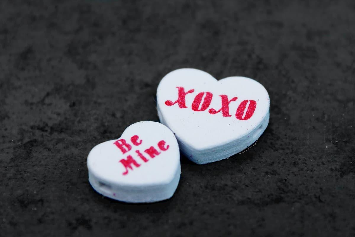 2 love heart sweets