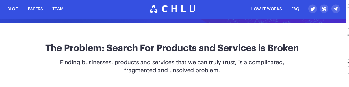 "Screenshot of the Chlu homepage, with the main headline saying ""The problem: Search for Products and Services is Broken —  Finding businesses, products and services that we can truly trust is a complicated, fragmented and unsolved problem."
