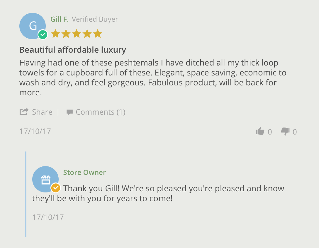 screenshot showing a positive review for the company lukslinen and a friendly comment from one of the team