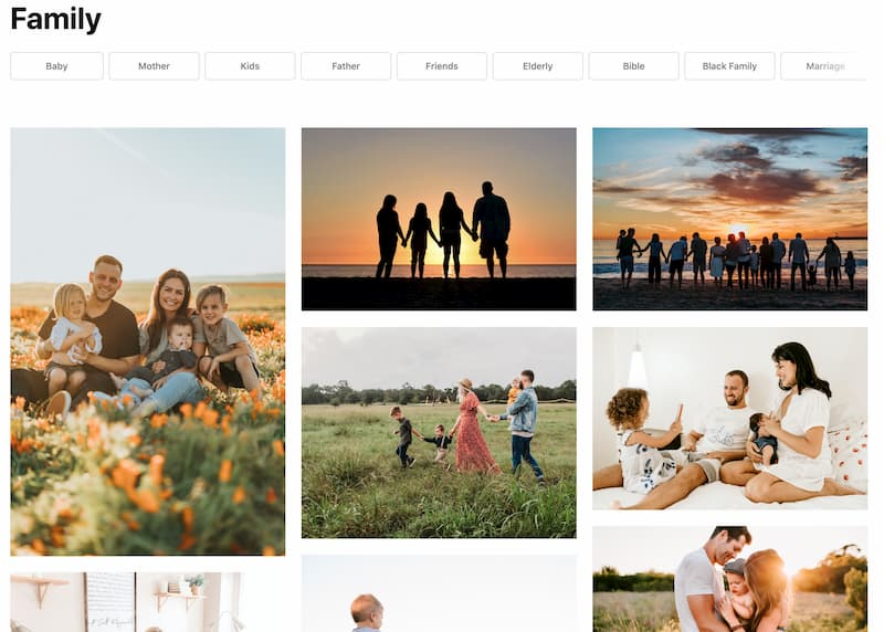 "Screenshot taken in September 2020 showing the first few images that come up when you search for ""family"" on Unsplash.com. Images show heterosexual couples with children.M"