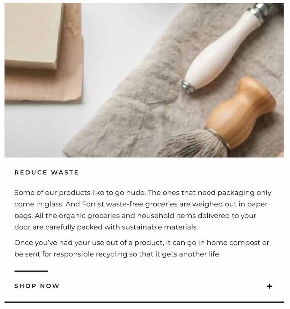 Examples of personification and brand tone of voice in website copy for a zero waste shop