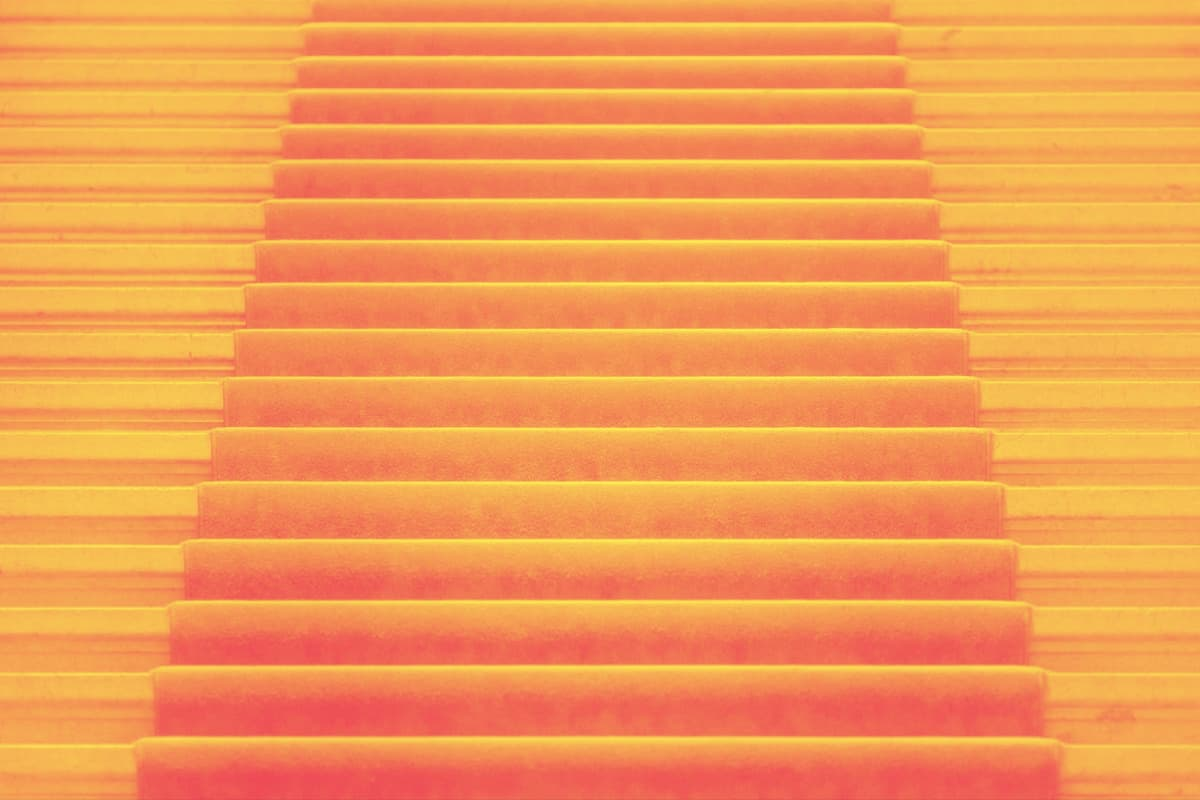 stairs with a red carpet. the top of the stairs is invisible