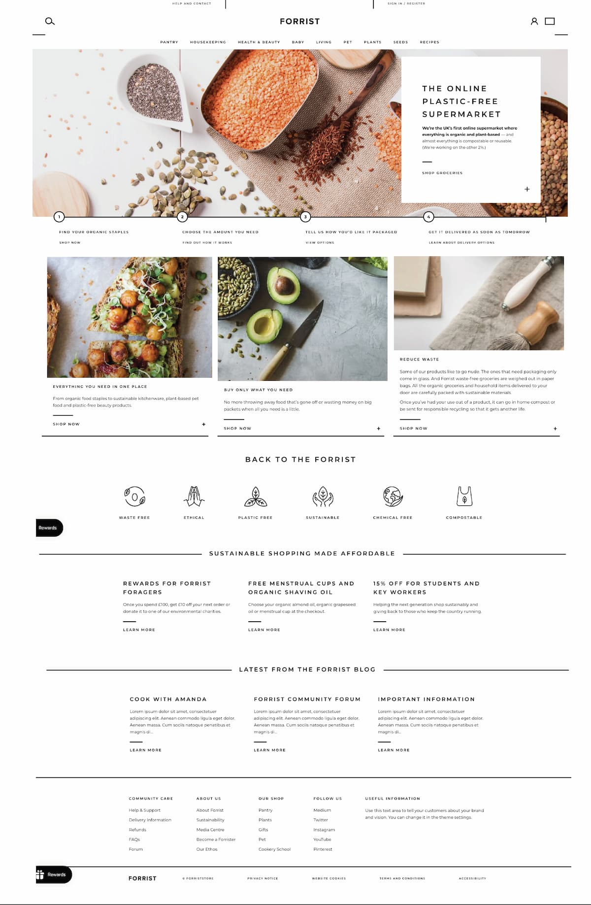 The finished Forrist home page, which shows the copy that we tested and optimised in the client's Shopify theme