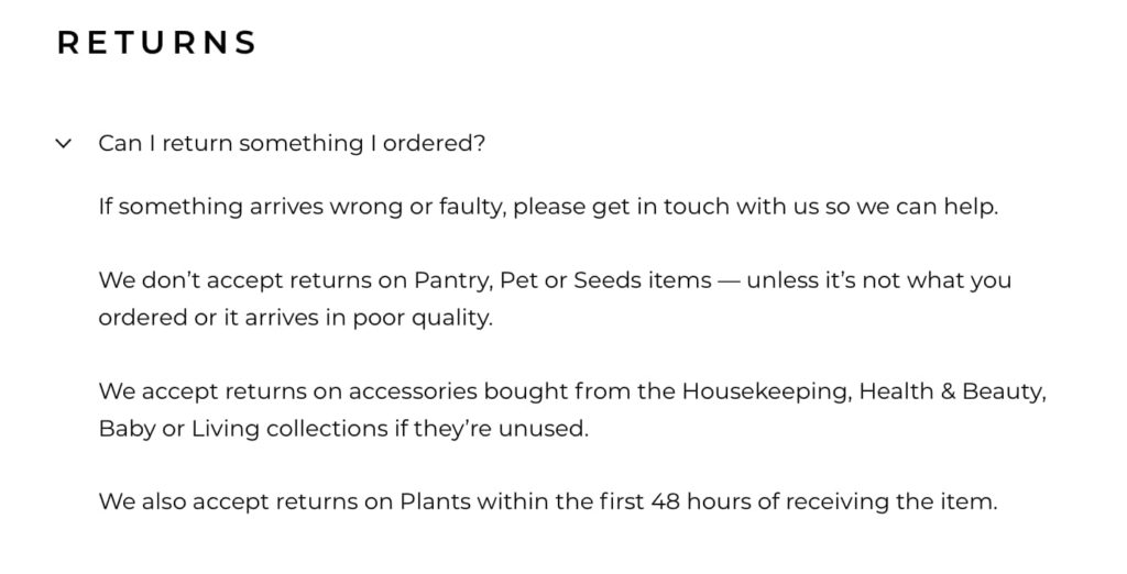 Returns section of Forrist FAQ page written in brand tone of voice