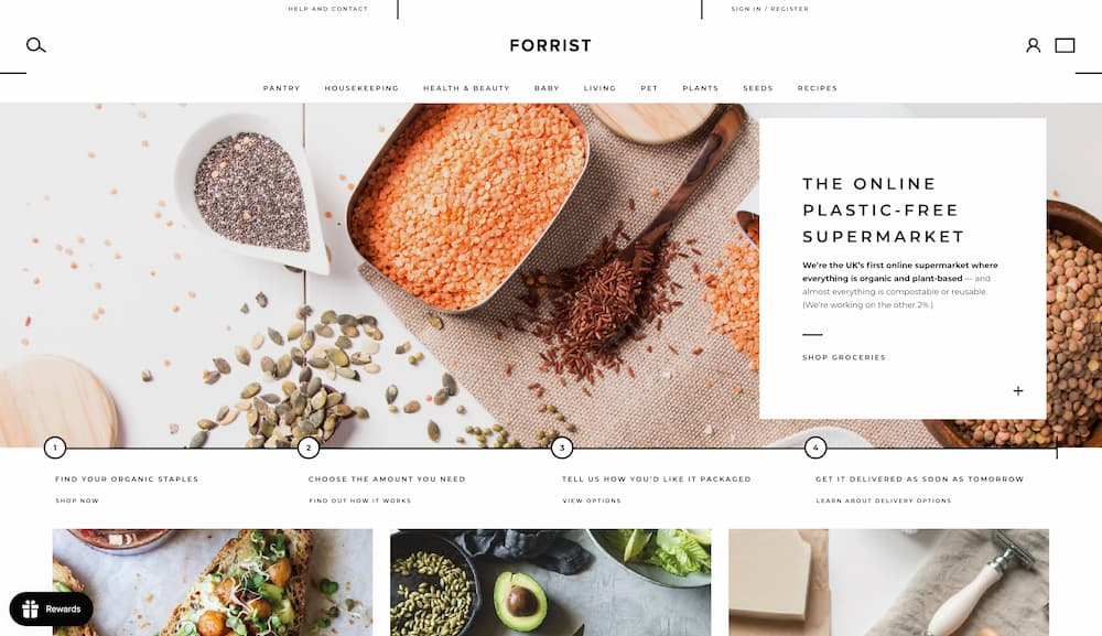 """The H1 """"The online plastic-free supermarket"""" and the text underneath """"We're the UK's first online supermarket where everything is organic and plant-based – and almost everything is compostable or reusable. (We're working on the other 2%.)"""